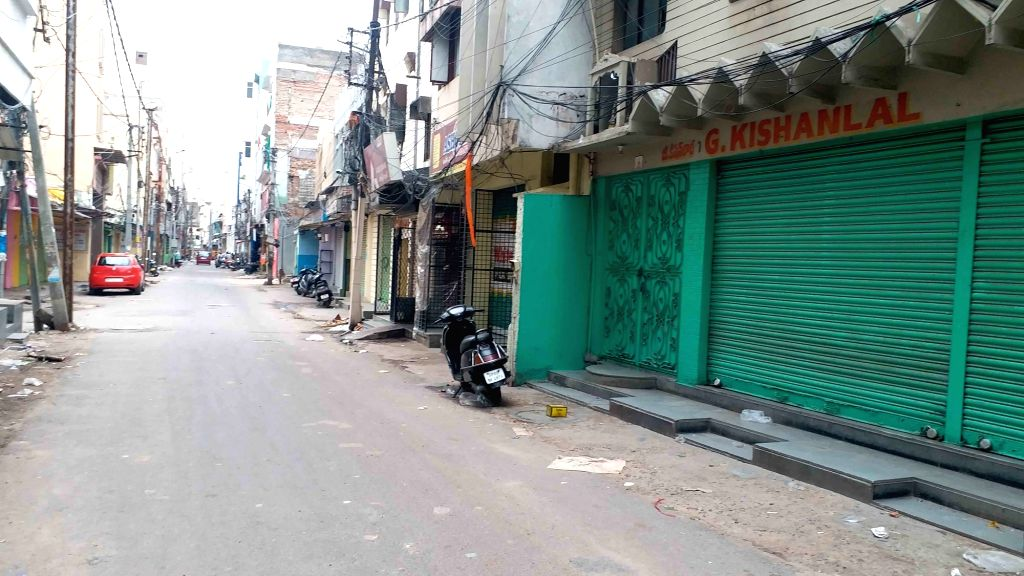 Hyderabad: Shops remain closed at Begum Bazar after the Hyderabad Kirana Merchants Association voluntarily announced the lockdown of shops in the area from today till July 5, in the wake of COVID-19 pandemic, on June 28, 2020. (Photo: IANS)