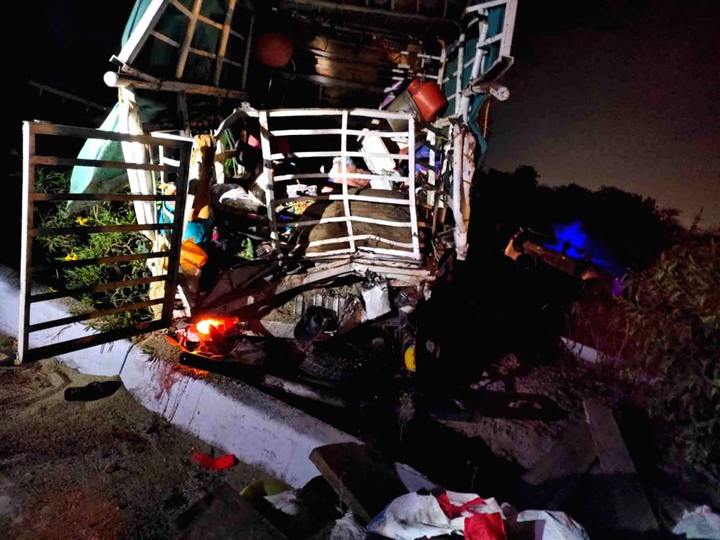 Hyderabad: Six persons were killed when a truck carrying labourers back to their villages in Karnataka was rammed by a lorry on Outer Ring Road on Hyderabad outskirts early on March 28, 2020. (Photo: IANS)