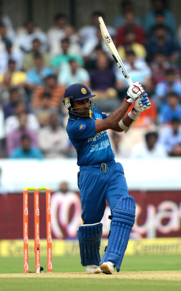 Sri Lankan player Mahela Jayawardene in action during the 3rd ODI match between India and Sri Lanka at Rajiv Gandhi International Stadium in Hyderabad on Nov 9, 2014.