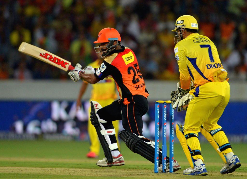 Sunrisers Hyderabad batsman Shikhar Dhawan in action during an IPL-2015 match between Chennai Super Kings and Sunrisers Hyderabad at Rajiv Gandhi International Stadium, Uppal in Hyderabad ... - Shikhar Dhawan