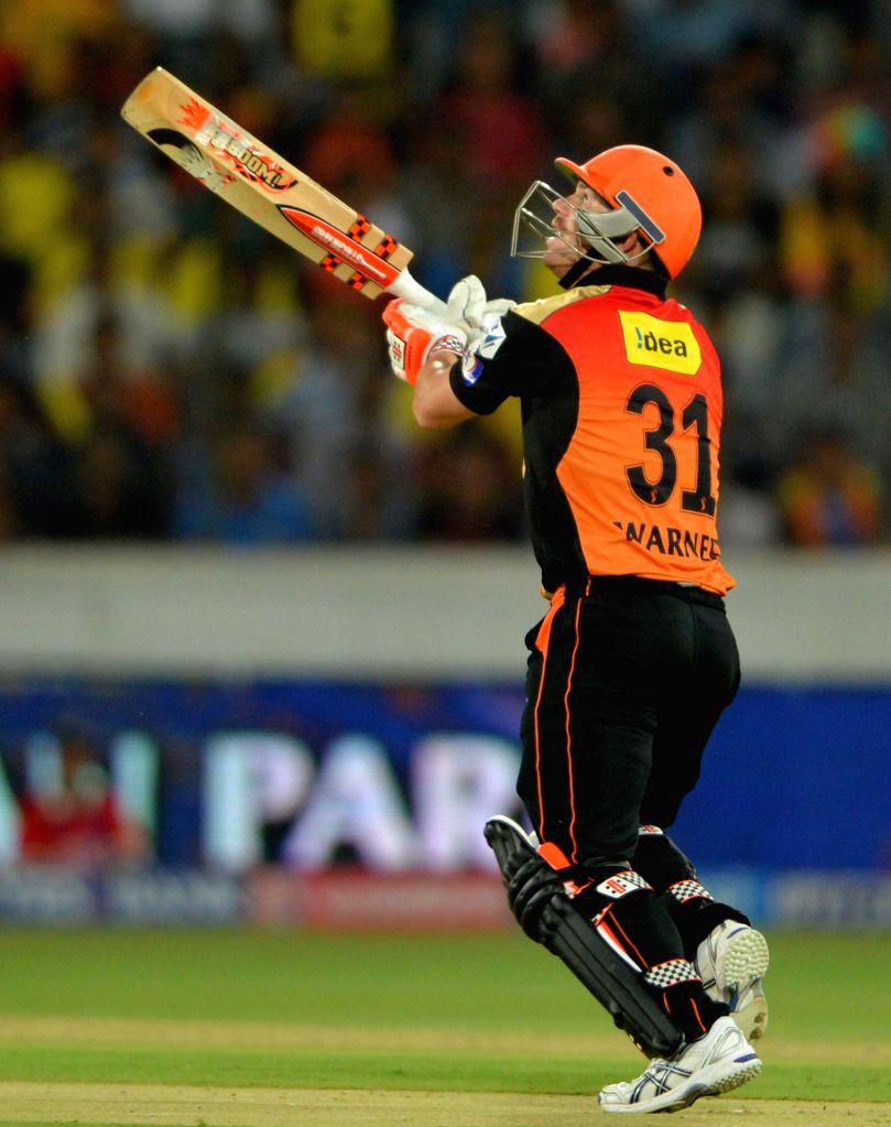 Sunrisers Hyderabad David Warner batsman in action during an IPL-2015 match between Chennai Super Kings and Sunrisers Hyderabad at Rajiv Gandhi International Stadium, Uppal in Hyderabad on ...