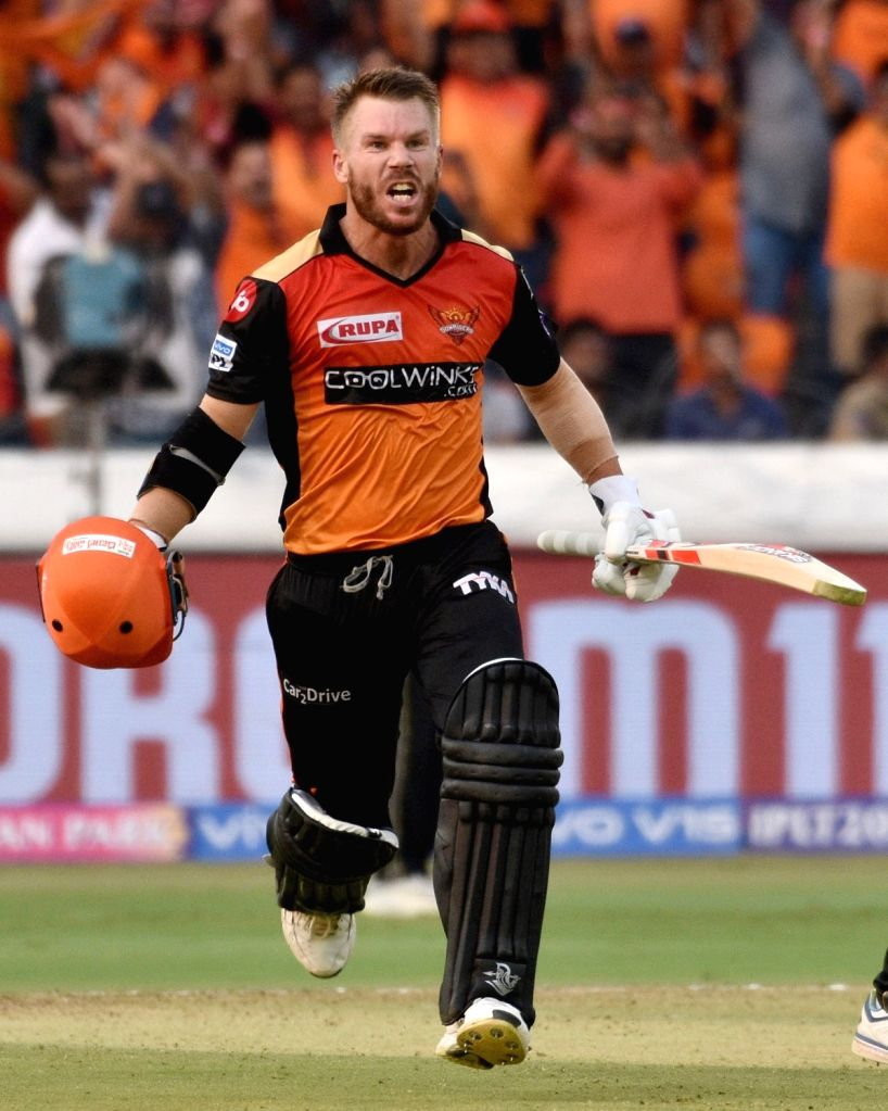 Hyderabad: Sunrisers Hyderabad's David Warner celebrates his century during the 11th IPL 2019 match between Sunrisers Hyderabad and Royal Challengers Bangalore at Rajiv Gandhi International Stadium in Hyderabad on March 31, 2019. (Photo: IANS)