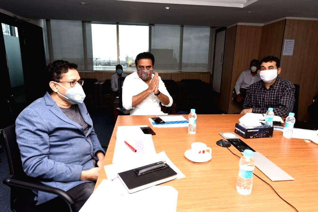 Hyderabad: Telagana IT Minister KT Rama Rao chairs a review meeting on Telangana Fibre Grid (T-Fibre) project under Bharat Net Phase-II Programme of Government of India (GOI) with T-Works CEO Sujai Karampuri in Hyderabad on June 16, 2020. BharatNet P - K and Rao