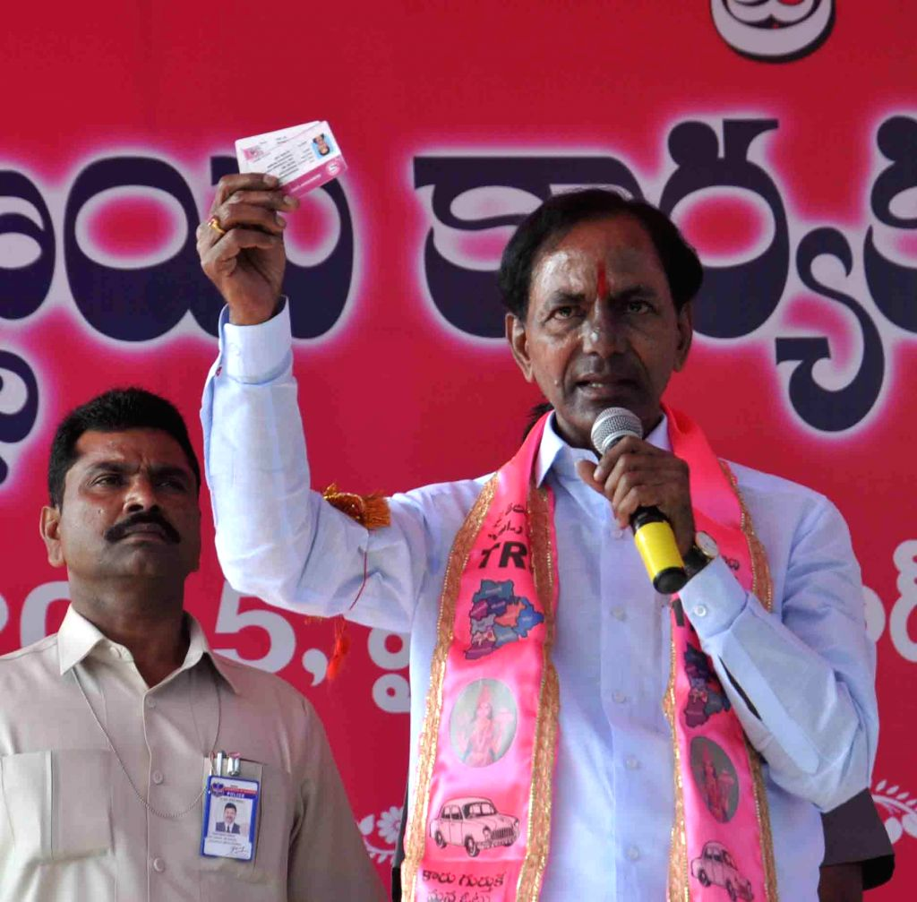 Telangana Chief Minister K Chandersheker Rao addresses TRS party activists during a party programme at Kompally near Hyderabad on Feb 3, 2015. - K Chandersheker Rao