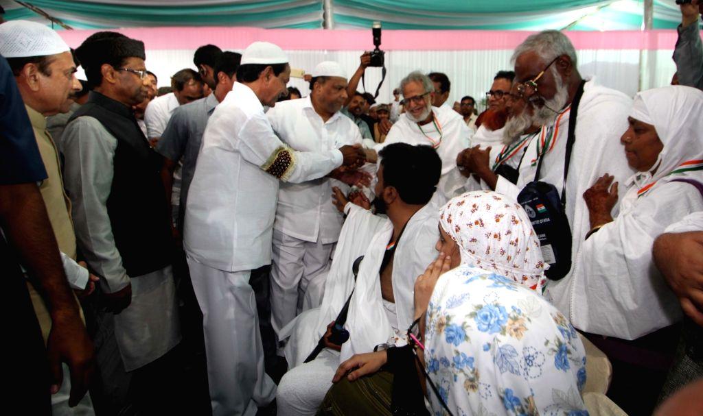 Hyderabad: Telangana Chief Minister K Chandrasekhar Rao meets Haj pilgrims at Haj House in Hyderabad, on Aug 15, 2017. - K Chandrasekhar Rao