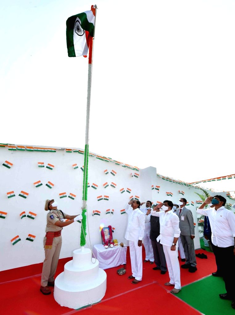 Hyderabad: Telangana Chief Minister K Chandersheker Rao salutes The National Flag at CM Camp office, Hyderabad on Tuesday, 26th January 2021 (Photo: IANS) - K Chandersheker Rao