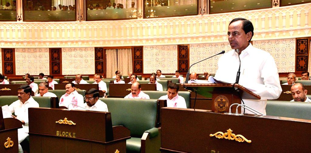 Hyderabad: Telangana Chief Minister K. Chandrashekar Rao addresses during the state assembly's budget session in Hyderabad, on Feb 22, 2019. (Photo: IANS) - K. Chandrashekar Rao
