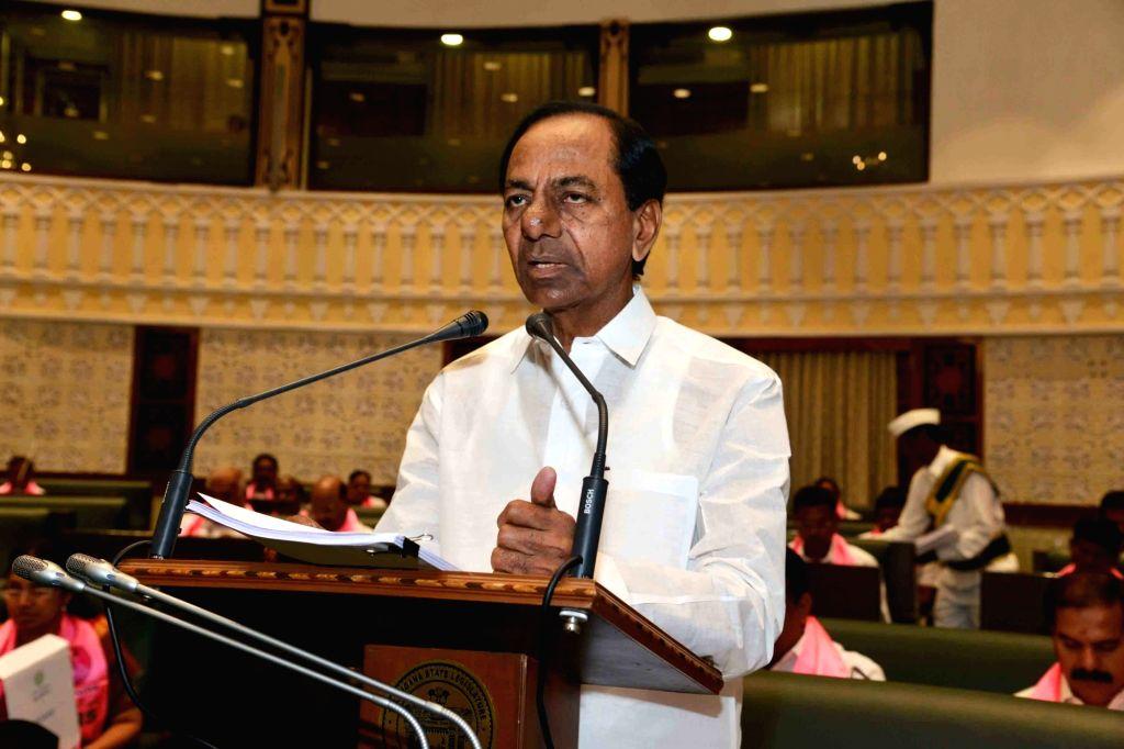 Hyderabad: Telangana Chief Minister K. Chandrashekhar Rao presents the State Budget for 2019-20 in the state assembly in Hyderabad on Sep 9, 2019. (Photo: IANS) - K. Chandrashekha