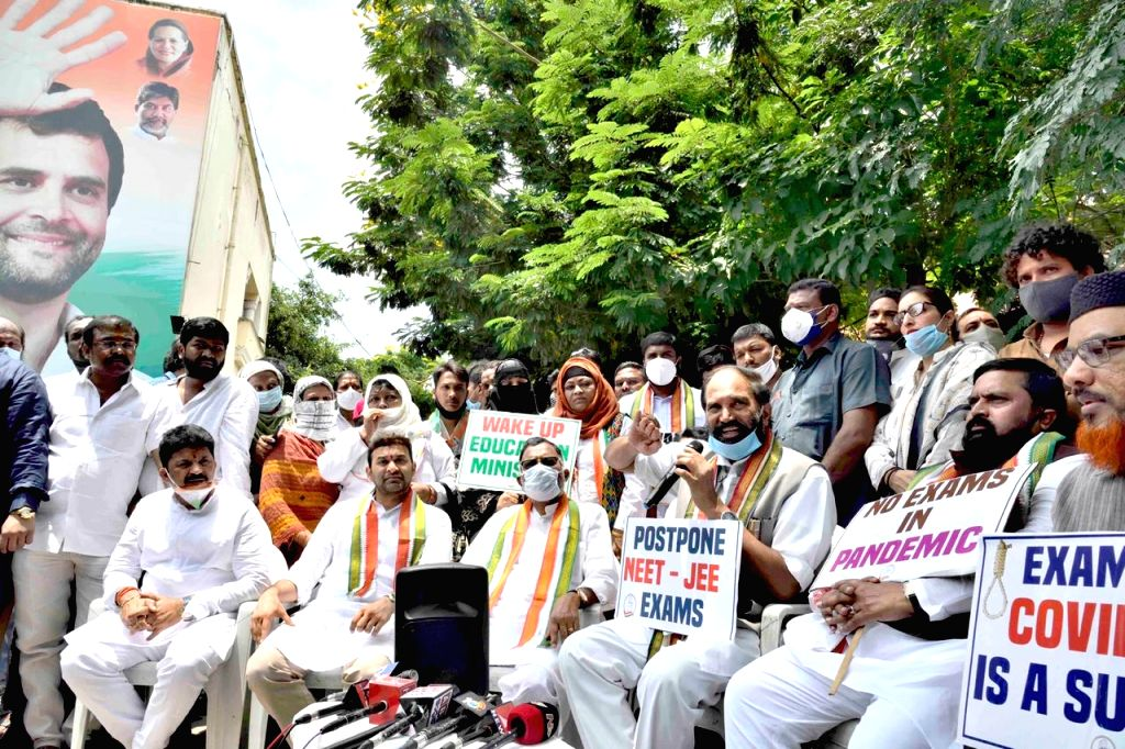 Hyderabad: Telangana Congress workers led by state party president N. Uttam Kumar Reddy, stage a demonstration demanding the postponement of National Eligibility-cum-Entrance Test (NEET) and Joint Entrance Exam (JEE) in the wake of the COVID-19 pande