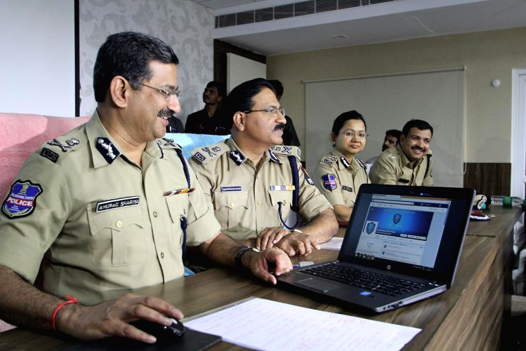 Telangana DGP Anurag Sharma launches the Facebook page of the Telangana police in Hyderabad, on Dec 16, 2014. - Anurag Sharma
