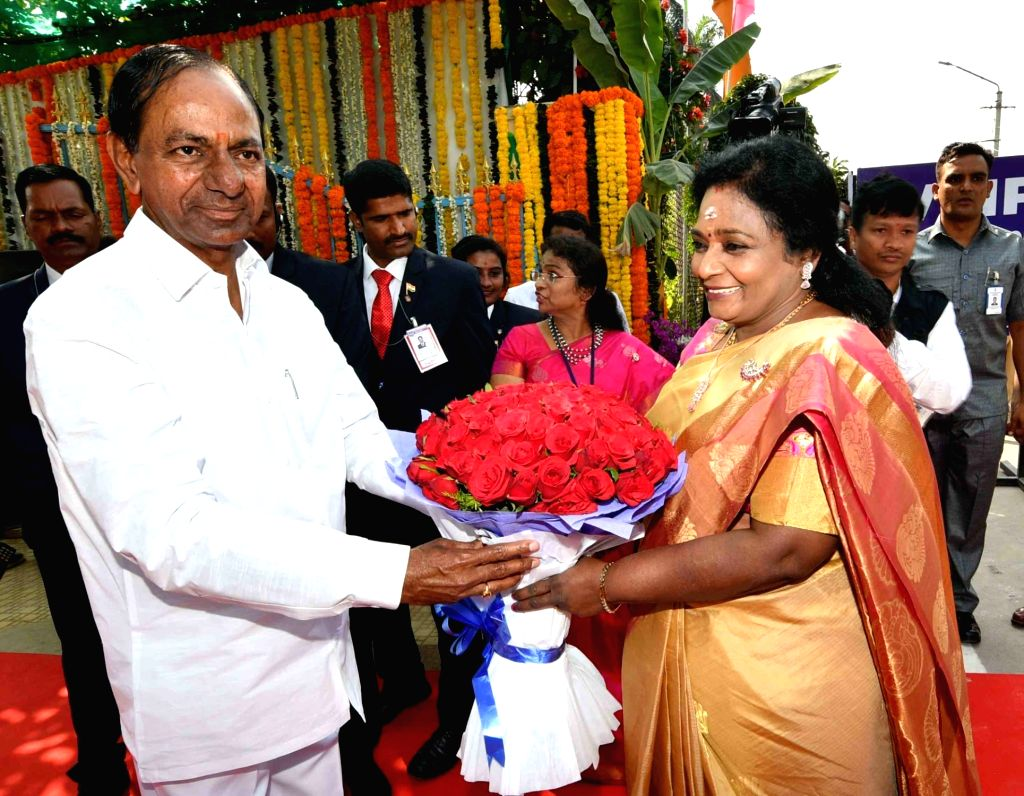 Hyderabad: Telangana Governor Tamilisai Soundararajan and Chief Minister K. Chandrashekar Rao during the 71st Republic Day celebrations, at Public Garden Lawns in Hyderabad on Jan 26, 2020. (Photo: IANS) - K. Chandrashekar Rao