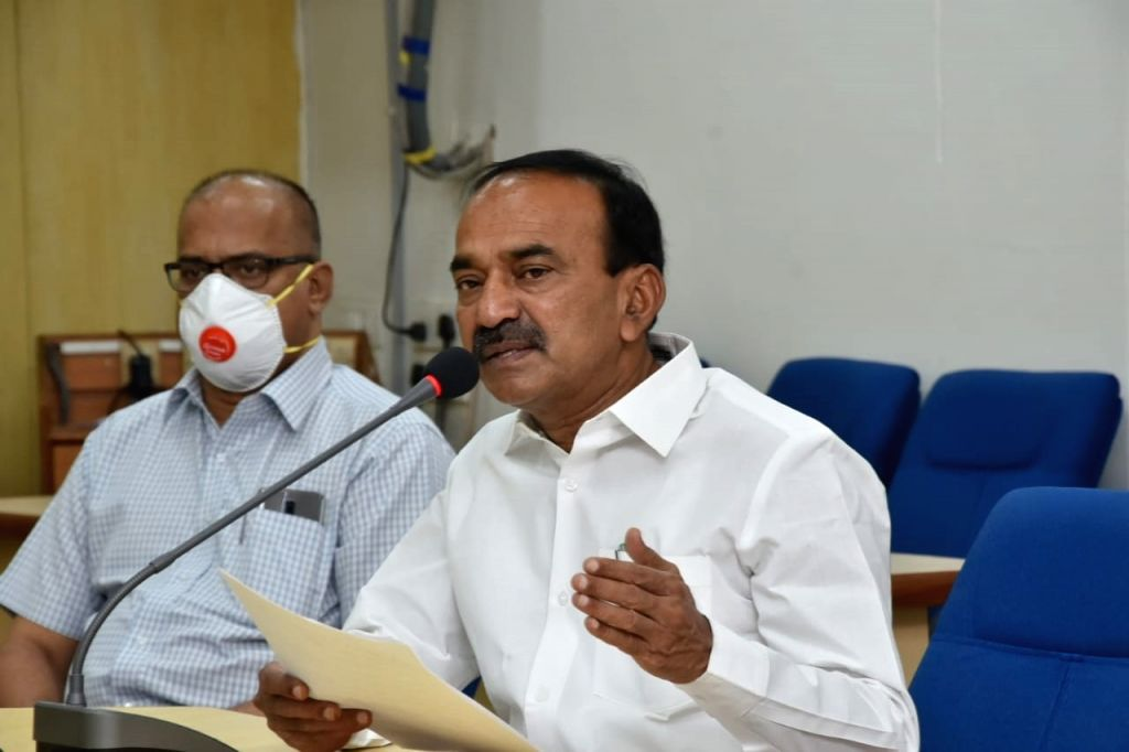 Hyderabad: Telangana Health Minister Etela Rajender addresses a press conference in Hyderabad during the extended nationwide lockdown imposed to mitigate the spread of coronavirus, at Special command control room in Koti Hospital, Hyderabad on Apr 16 - Etela Rajender
