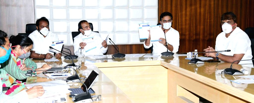 Hyderabad: Telangana Municipal Administration and Rural Development Minister KT Rama Rao presides over a meeting regarding Containment Zones, also known as the red zones, the areas sealed by the district administrations after at least three coronavir - K and Rao