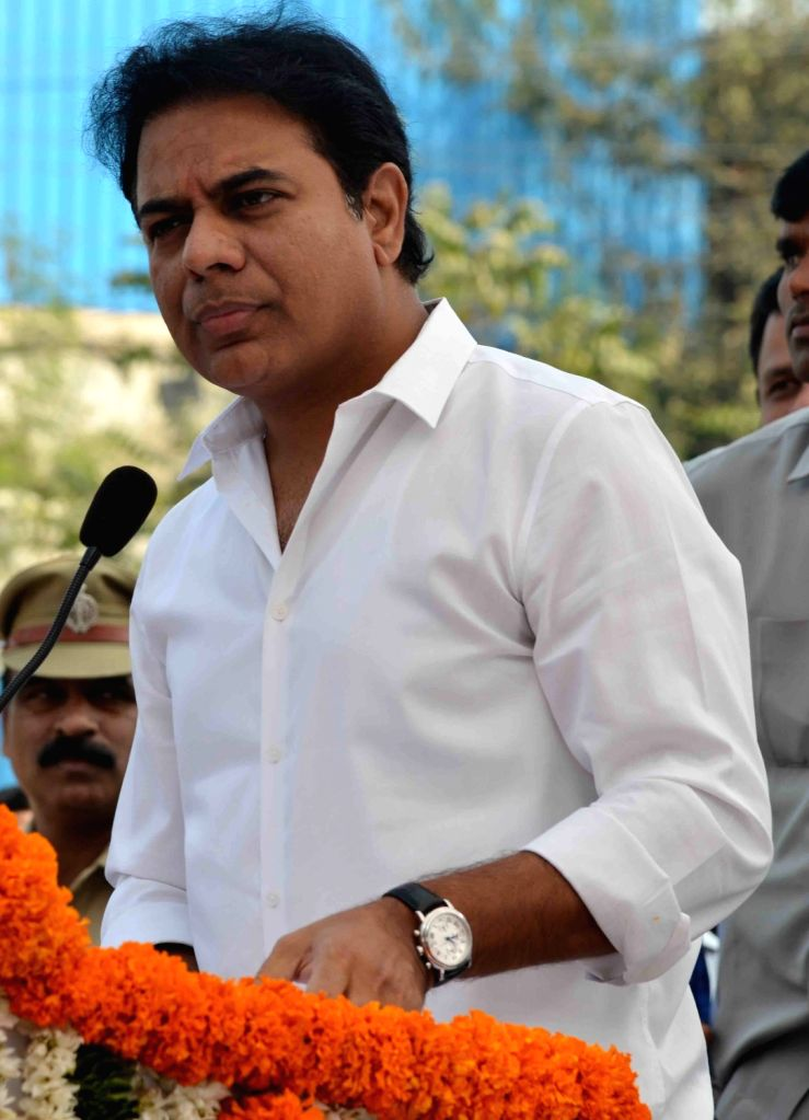 Hyderabad: Telangana Municipal Administration and Urban Development Minister K. T. Rama Rao addresses during the inauguration of an underpass at Ayyappa Society Junction in Madhapur, Hyderabad on Jan 3, 2018. (Photo: IANS) - K. T. Rama Rao