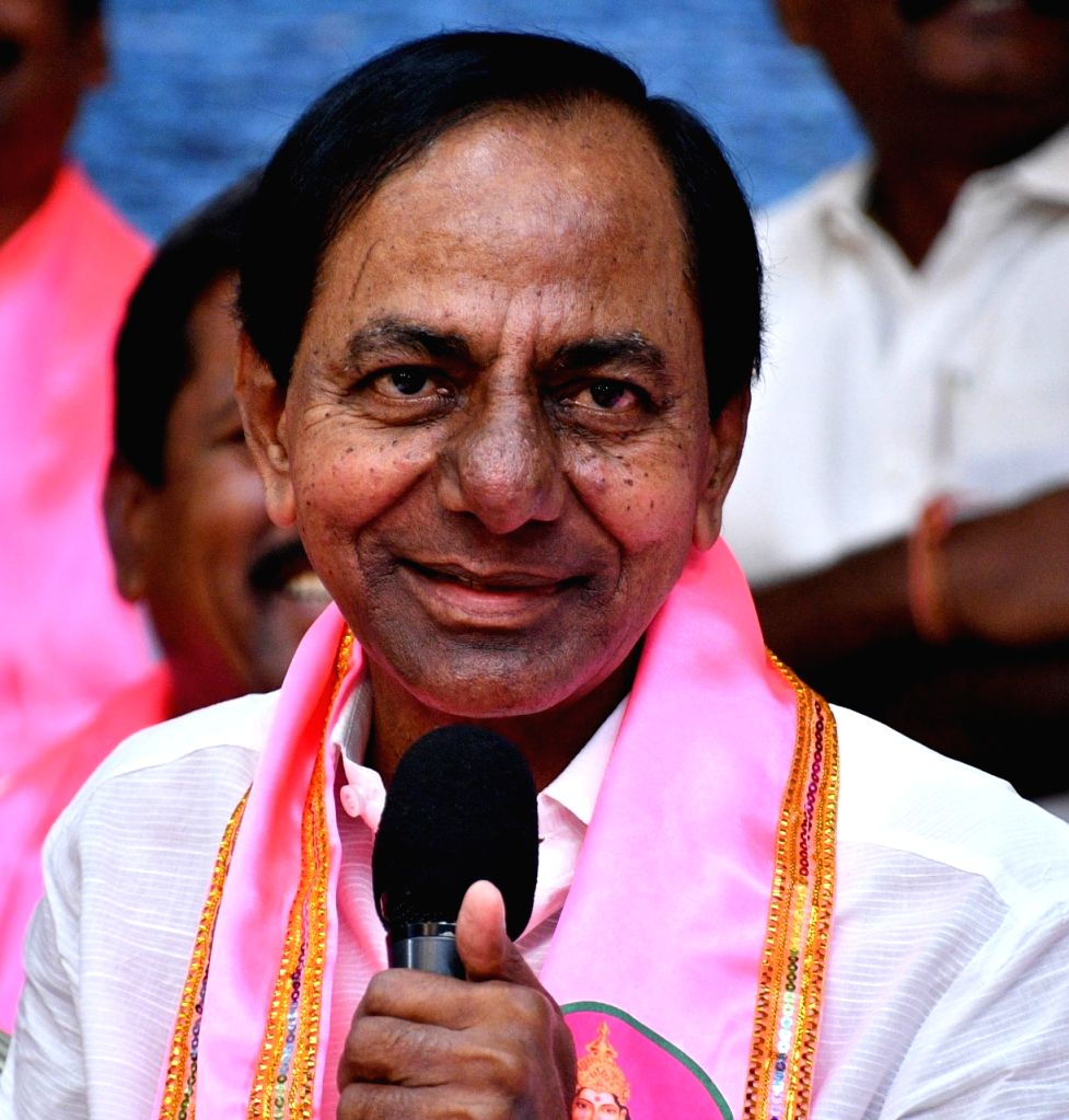 Hyderabad: Telangana Rashtra Samithi chief and Telangana Chief Minister K. Chandrasekhar Rao addresses a press conference in Hyderabad on Oct 24, 2019. (Photo: IANS) - K. Chandrasekhar Rao