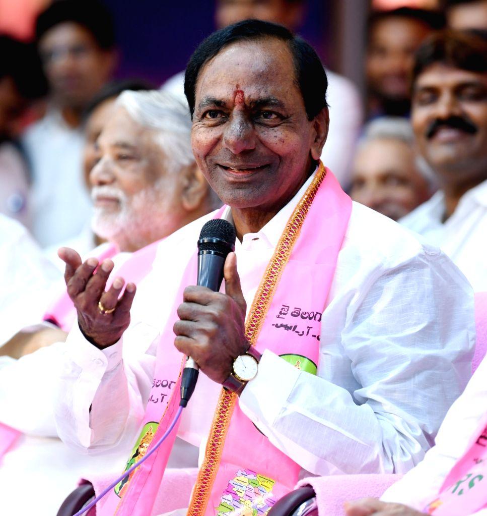 :Hyderabad: Telangana Rashtra Samithi (TRS) chief K Chandrasekhar Rao during his swearing in ceremony as Chief Minister of Telangana at Raj Bhavan in Hyderabad on Dec 13, 2018. (Photo: IANS).