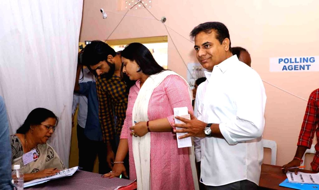 Hyderabad: Telangana Rashtra Samithi (TRS) working president KT Rama Rao with his wife Shailima Kalvakuntla arrive at a polling station to cast vote during the first phase of Lok Sabha election, in Hyderabad, on April 11, 2019. (Photo: IANS) - Rao