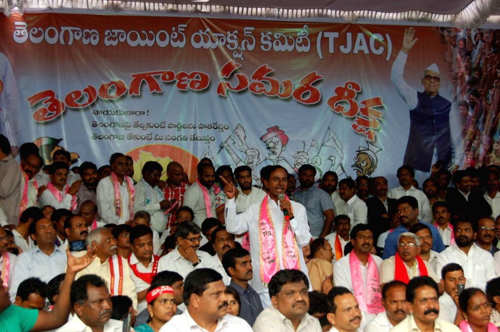 Telangana Rashtriya Samithi (TRS ) President K Chandersheker Rao addressing supporters on hunger strike for separate Telangana state at Hyderabad on Jan 28. - K Chandersheker Rao
