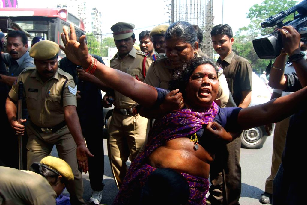 The activists of Madiga Reservation Porata Samithi demonstrating to press for their demands being taken away by the police in Hyderabad, on March 18, 2015.