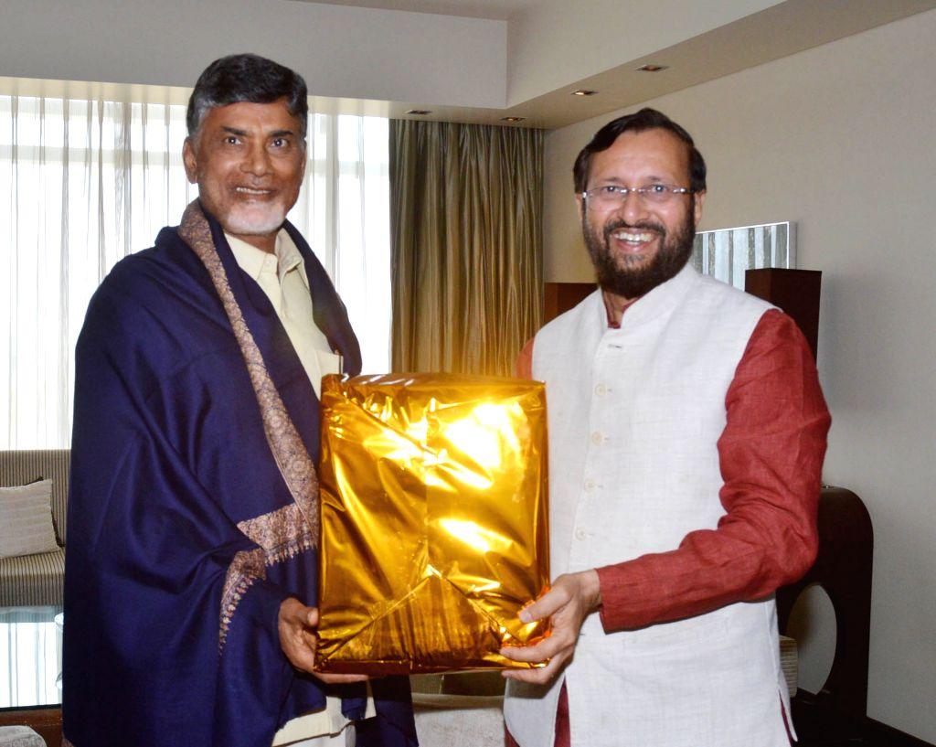 The Minister of State for Environment, Forest and Climate Change (Independent Charge), Prakash Javadekar during a meeting with Andhra Pradesh Chief Minister N. Chandrababu Naidu in ... - N. Chandrababu Naidu