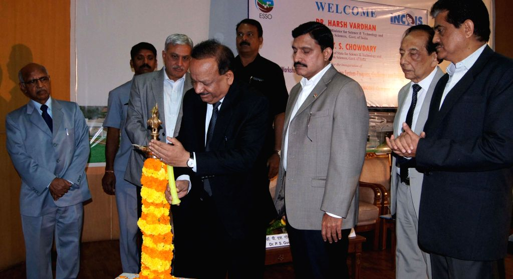 The Union Minister for Science and Technology and Earth Sciences, Dr. Harsh Vardhan during a workshop organised on `Indian Tsunami Early Warning System` at Jawaharlal Nehru Technological ..
