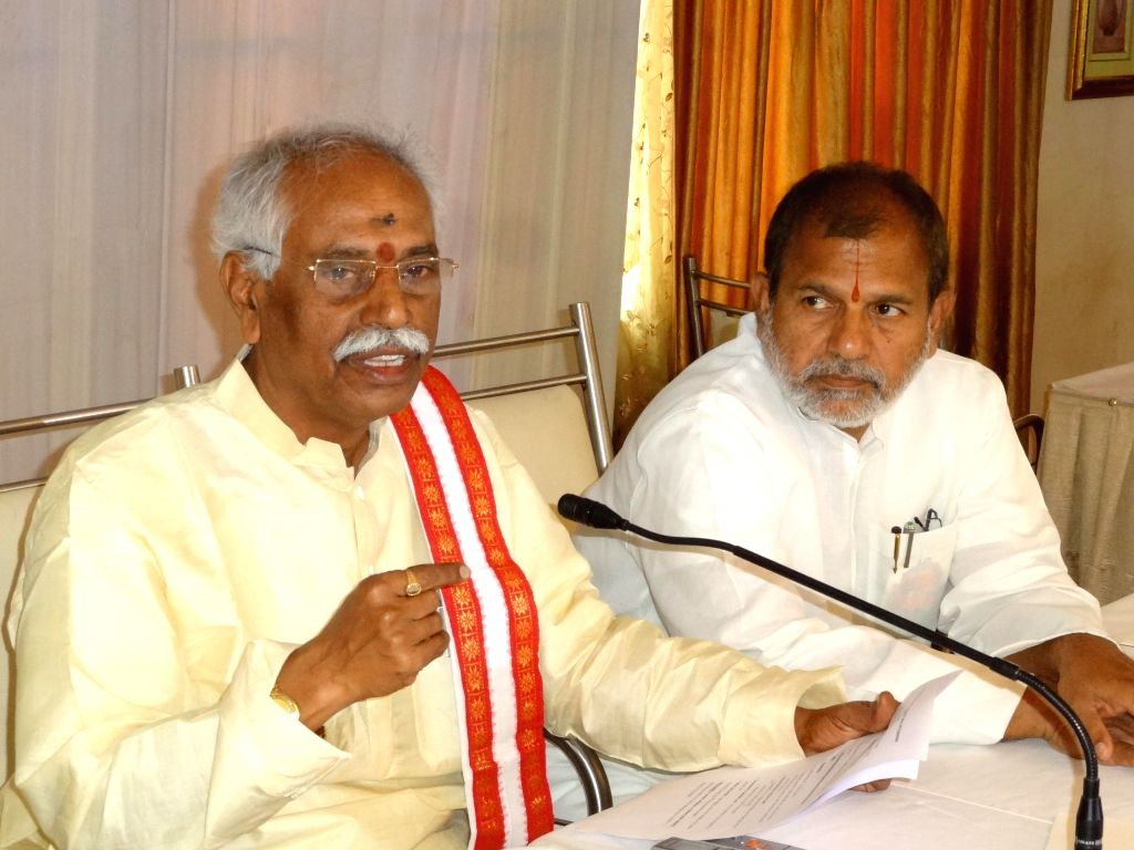 The Union Minister of State for Labour and Employment (Independent Charge), Bandaru Dattatreya addresses a press conference in Hyderabad on Jan 4, 2015.