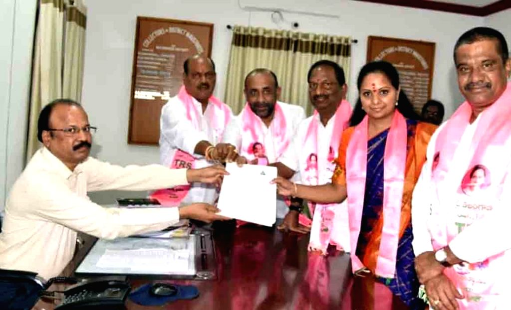 Hyderabad: TRS MP K. Kavitha files her nomination for Nizamabad Lok Sabha seat, in Hyderabad on March 22, 2019. (Photo: IANS)