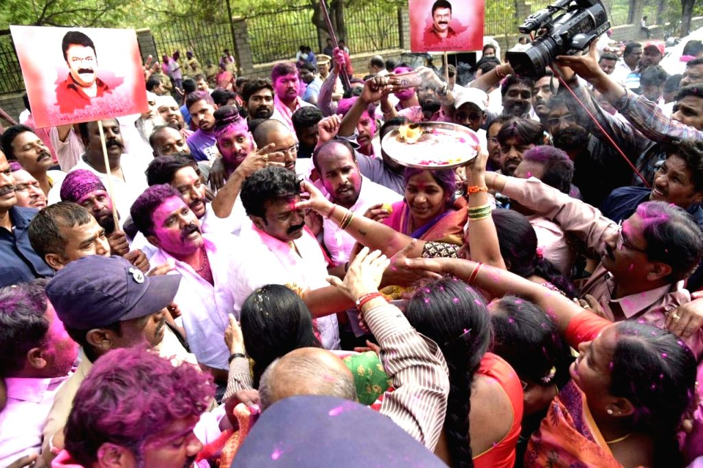 :Hyderabad: TRS workers celebrate party's performance in the recently concluded Telangana Assembly polls in Hyderabad on Dec 11, 2018. (Photo: IANS).