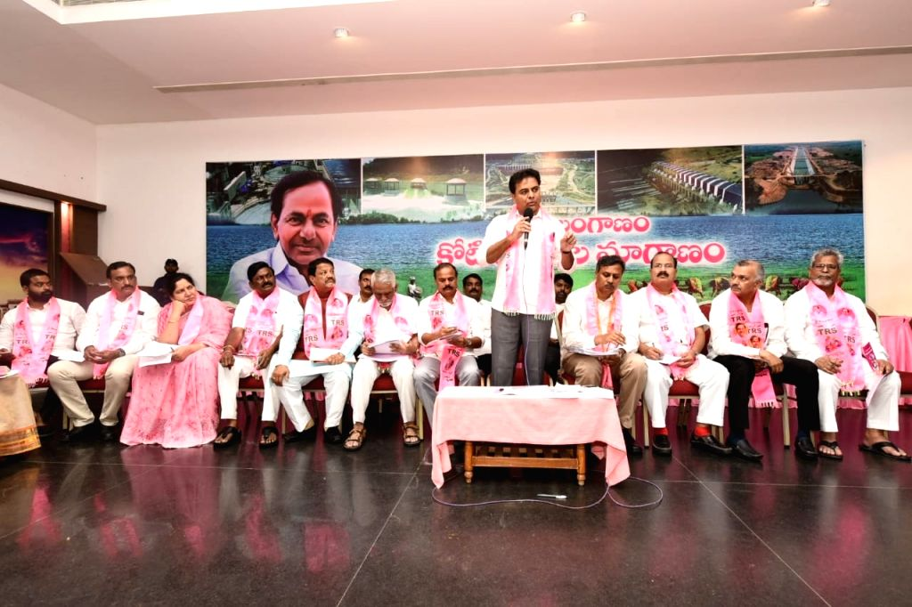 Hyderabad: TRS Working President K.T. Rama Rao addresses party workers during a party meeting, in Hyderabad on July 26, 2019. (Photo: IANS) - T. Rama Rao