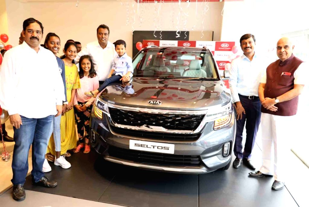 Hyderabad: TS Transco and Genco chairman and managing director (CMD) Devulapalli Prabhakar Rao and other dignitaries at the launch of SUV Kia Seltos by Vihaan Auto and Automotive Kia, the official dealer partners for Kia Motors India, in Hyderabad on - Devulapalli Prabhakar Rao