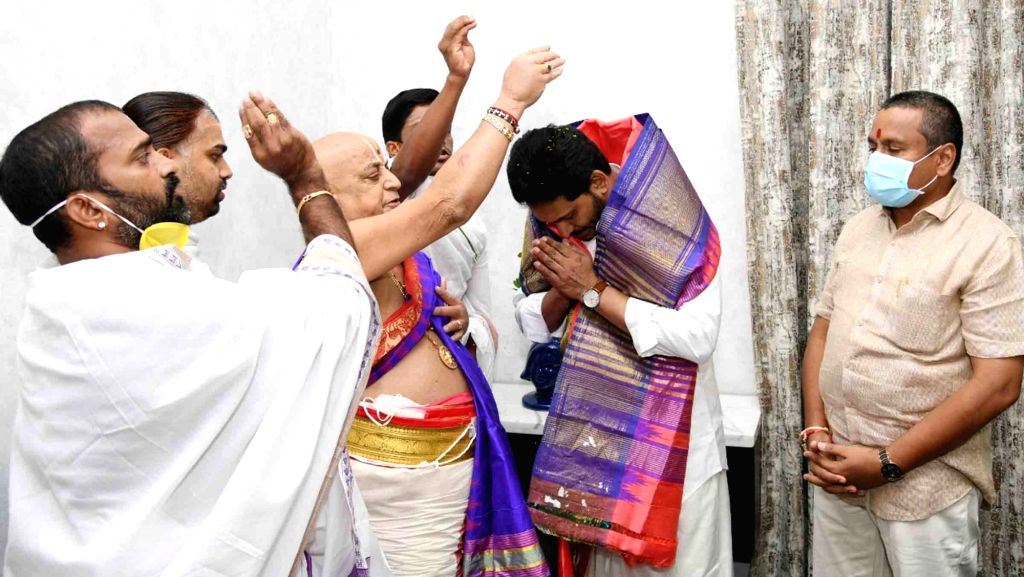 Hyderabad : Ugadi Celebrations  in Tadepalli. The event was attended by  AP Chief Minister YS Jagan Mohan Reddy and Ministers. On this occasion, several priests were honoured by CM YS Jagan. ... - Jagan Mohan Reddy