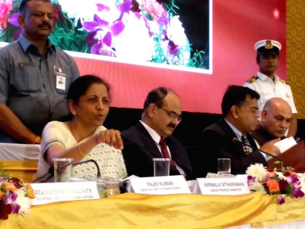 Hyderabad: Union Finance and Corporate Affairs Minister Nirmala Sitharaman holds an interactive session with Economists, Academicians & Policy Experts on Budget 2020, in Hyderabad on Feb 16, 2020. (Photo: IANS) - Nirmala Sitharaman