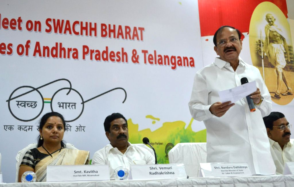 Union Minister for Urban Development, M Venkaiah Naidu nominate the Brand Ambassadors for Swachh Bharat Abhiyan from the states of Telangana and Andhra Pradesh, in Hyderabad on Jan. 5, ... - M Venkaiah Naidu