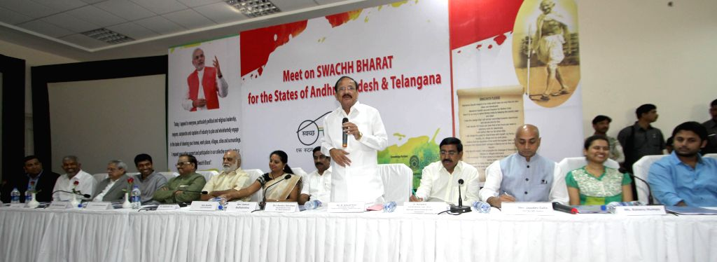 Union Minister for Urban Development M Venkaiah Naidu nominate the Brand Ambassadors for Swachh Bharat Abhiyan from the states of Telangana and Andhra Pradesh, in Hyderabad on Jan. 5, ... - Venkaiah Naidu