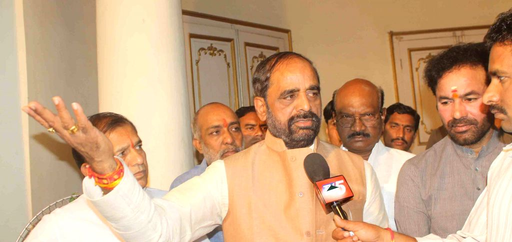 Union Minister of State for Chemicals and Fertilizers Hansraj Gangaram Ahir talks to press in Hyderabad on March 27, 2015.