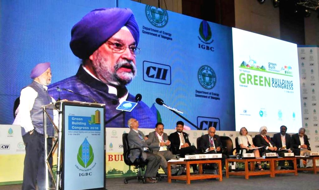 :Hyderabad: Union MoS Housing and Urban Affairs Hardeep Singh Puri addresses at the inauguration of the 16th Edition of Green Building Congress 2018, in Hyderabad, on Nov 1, 2018. (Photo: IANS/PIB).
