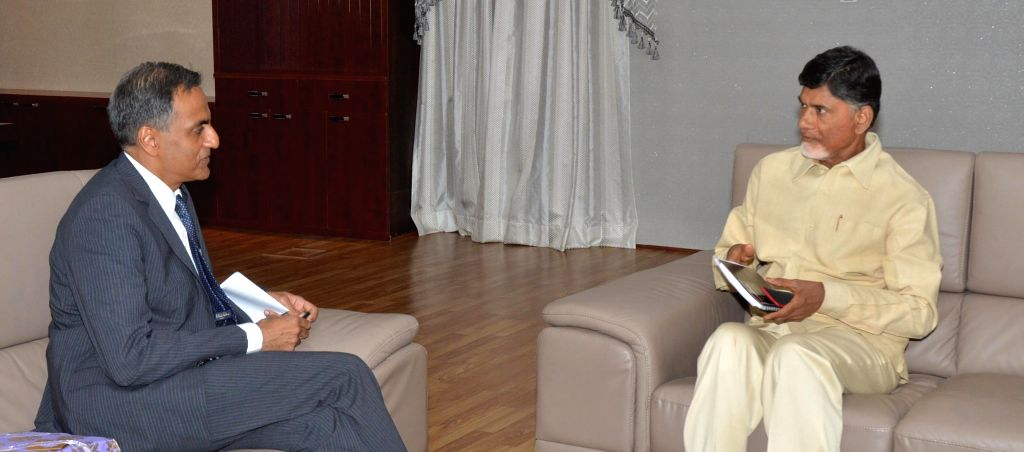 US Ambassador to India Richard Verma calls on Andhra Pradesh Chief Minister N. Chandrababu Naidu in Hyderabad, on Feb 23, 2015. - N. Chandrababu Naidu and Richard Verma