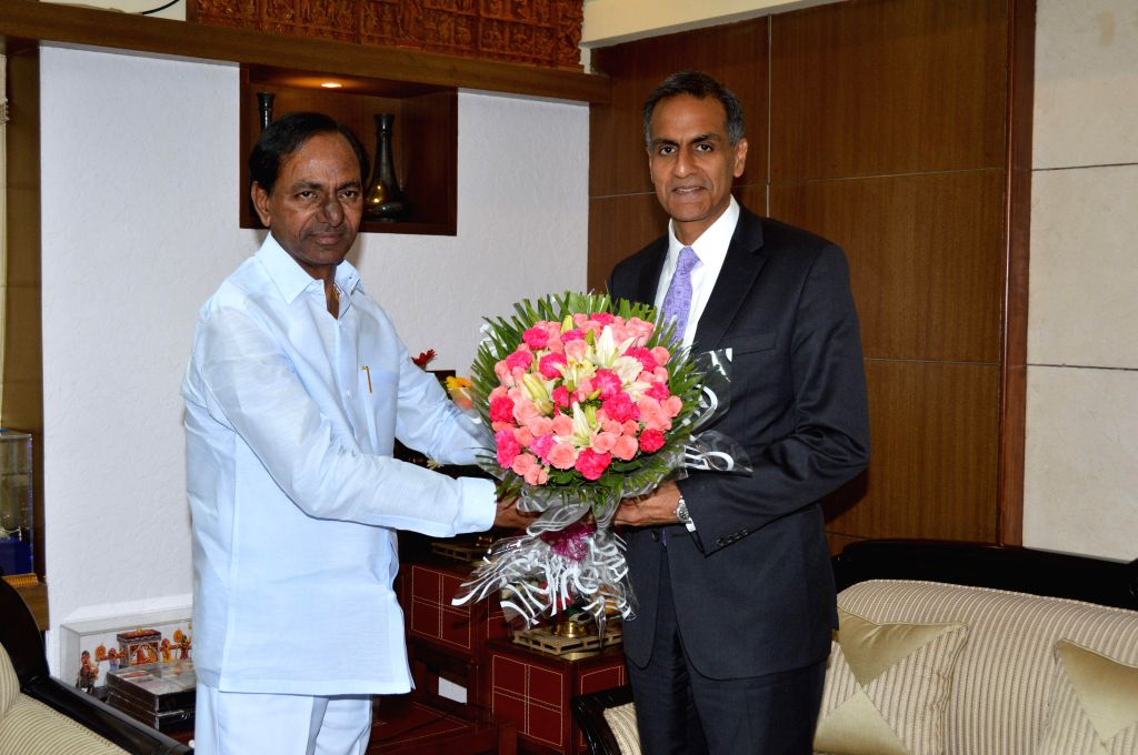US Ambassador to India Richard Verma calls on Telangana Chief Minister K Chandrasekhar Rao in Hyderabad, on Feb 24, 2015. - K Chandrasekhar Rao and Richard Verma