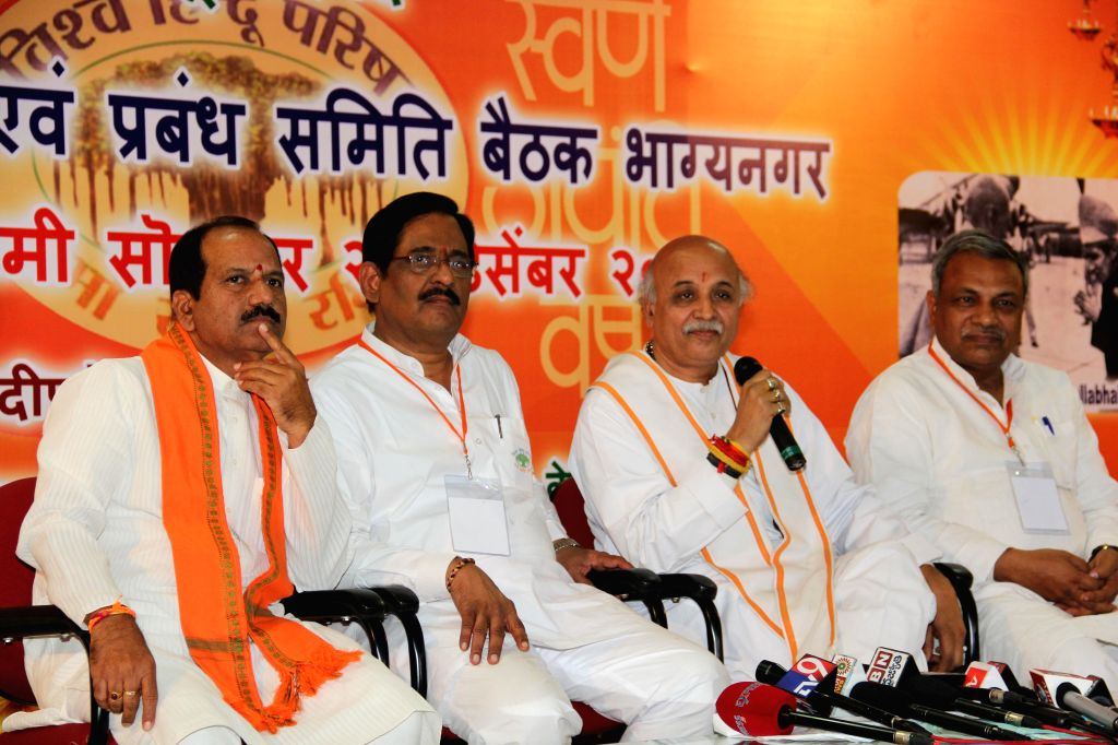 VHP leader Praveen Togadia addresses a press conference in Hyderabad, on Dec 29, 2014.