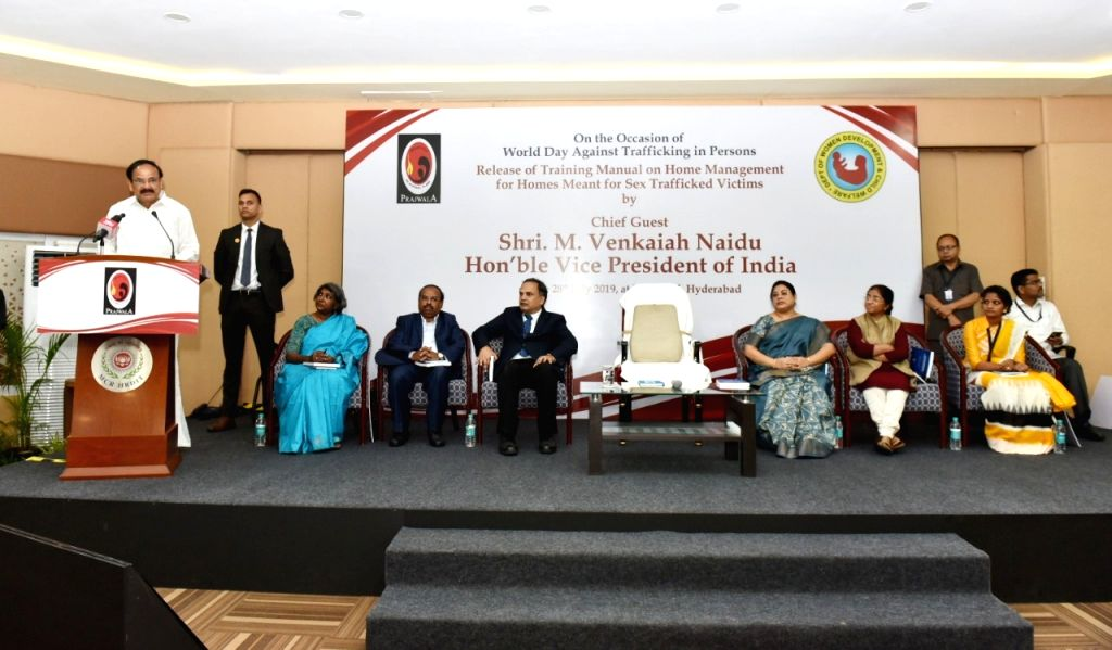 Hyderabad: Vice President M. Venkaiah Naidu addresses after releasing the Training Manual on Home Management for Homes Meant for Sex Trafficked Victims, on the occasion of World Day Against Trafficking in Persons, in Hyderabad on July 28, 2019. (Phot - M. Venkaiah Naidu