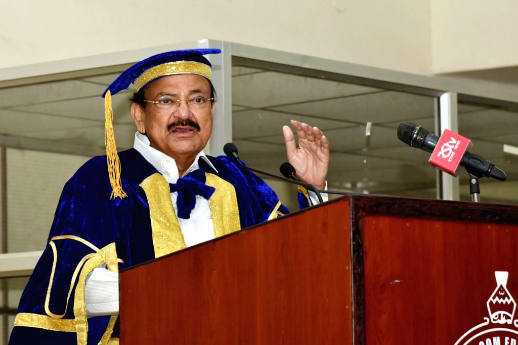 Hyderabad: Vice President M. Venkaiah Naidu addresses at the Graduation Day Ceremony of the Muffakham Jah College of Engineering and Technology, in Hyderabad on June 29, 2019. (Photo: IANS/PIB) - M. Venkaiah Naidu