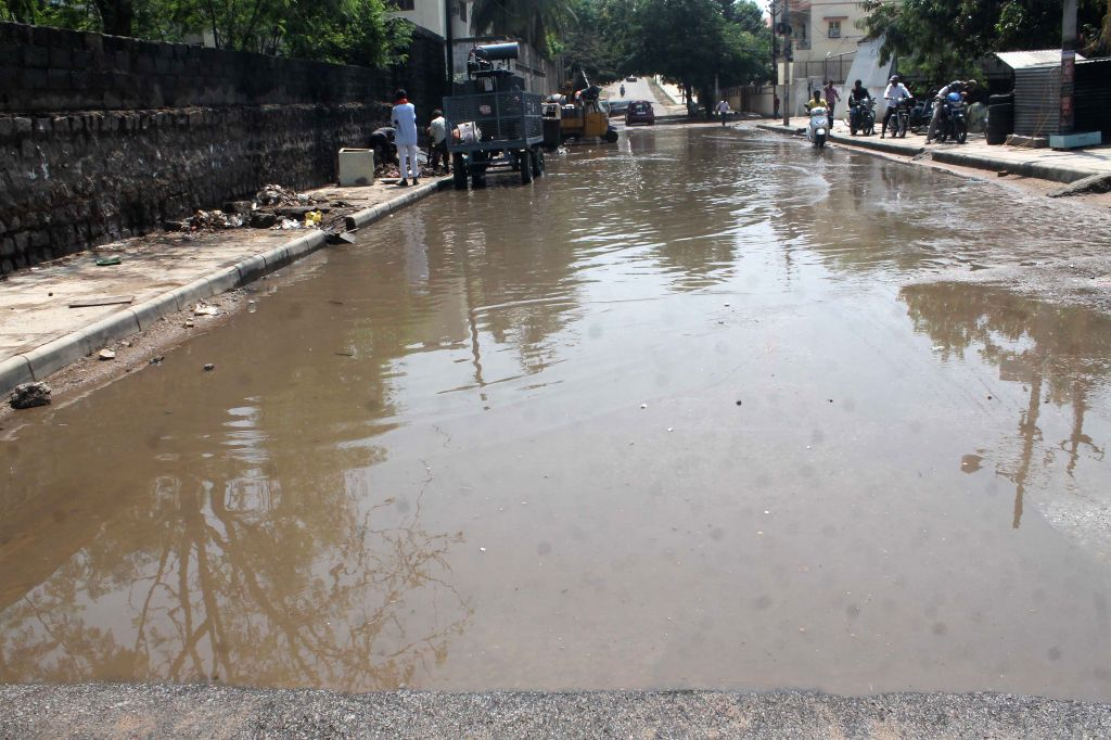 Water accumulates on Hyderabad roads after heavy rains on April 13, 2015.