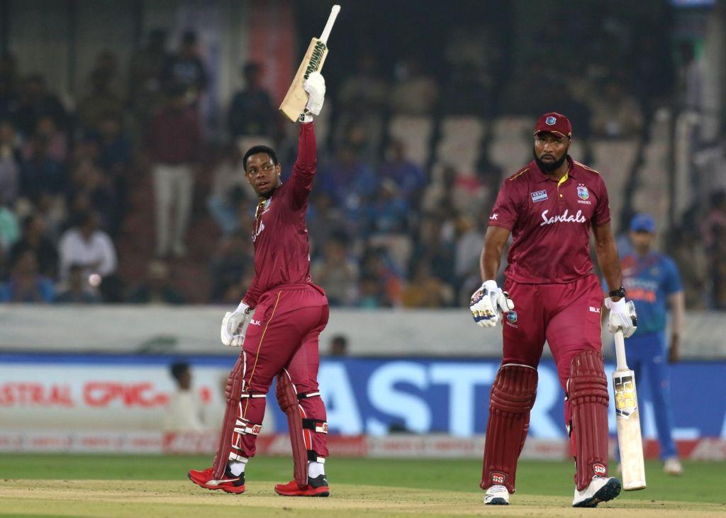 Hyderabad: West Indies' Shimron Hetmyer celebrates his half century during the first T20I match between India and West Indies at the Rajiv Gandhi International Stadium in Hyderabad on Dec 6, 2019. (Photo: Surjeet Yadav/IANS) - Surjeet Yadav