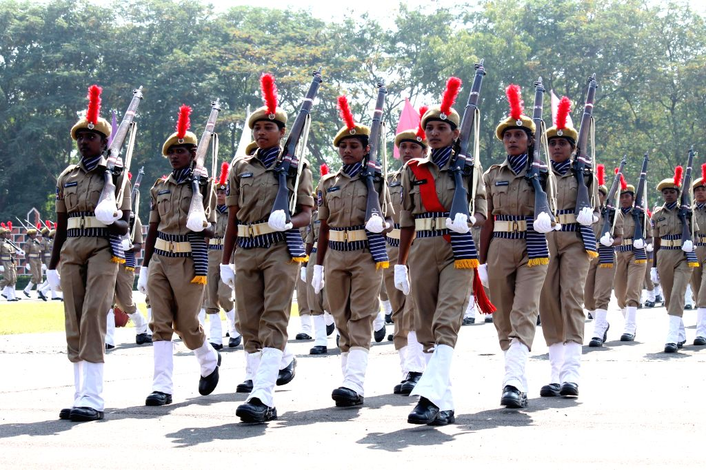Women police constables recruits during their passing out parade at Andhra Pradesh Police Academy, Himayat Sagar in Hyderabad on Dec 5, 2014.