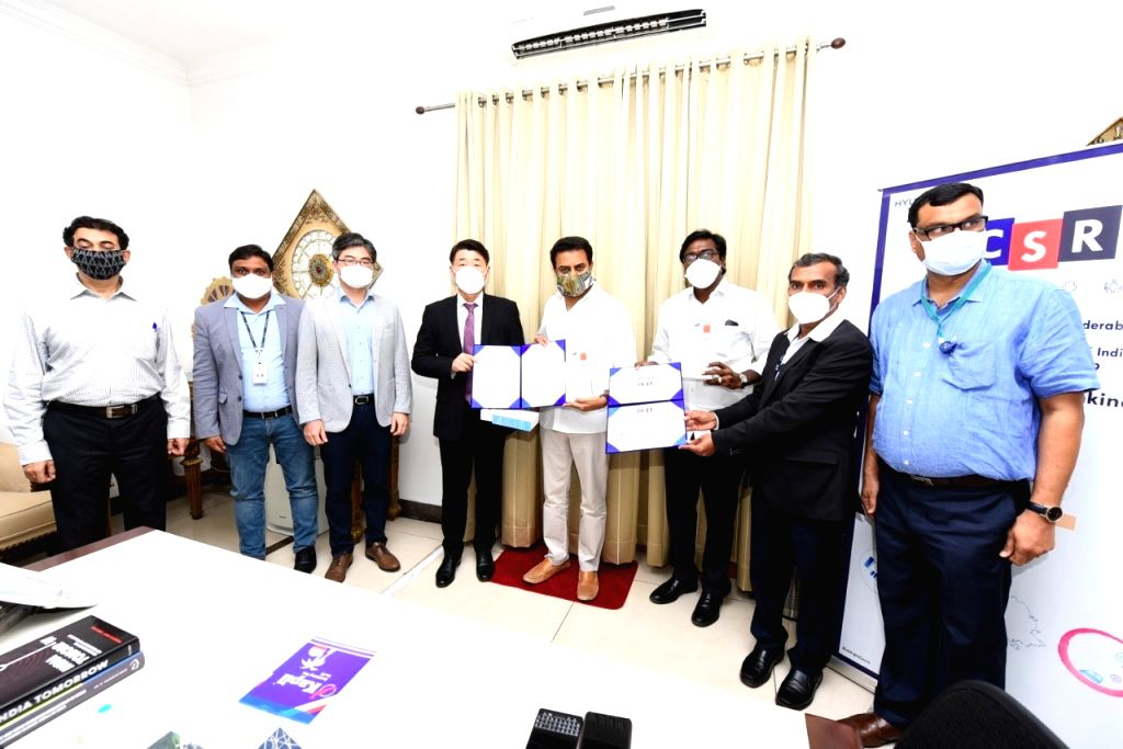 Hyundai Mobis India Limited contributed 3000 IR thermometers and 3000 oximeters towards the Telangana CM Relief Fund amid COVID-19 pandemic, in Hyderabad on Aug 14, 2020. Telangana ... - K and Rao