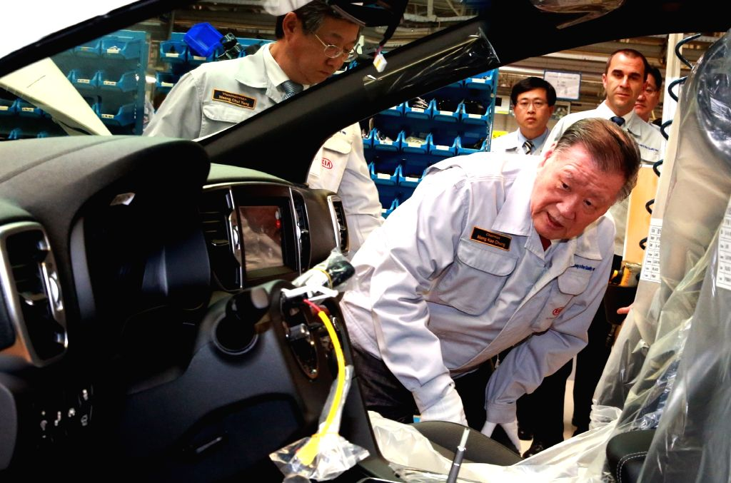 Hyundai Motor Group chairman Chung Mong-koo tours the manufacturing lines of the automaker's plant in Zilina, Slovakia, on Aug. 3, 2016.