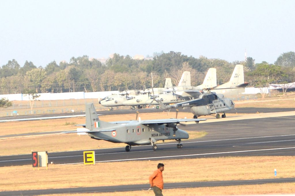 IAF aircrafts during a rehearsal ahead of 'Aero India 2019' in Bengaluru, on Jan 30, 2019.