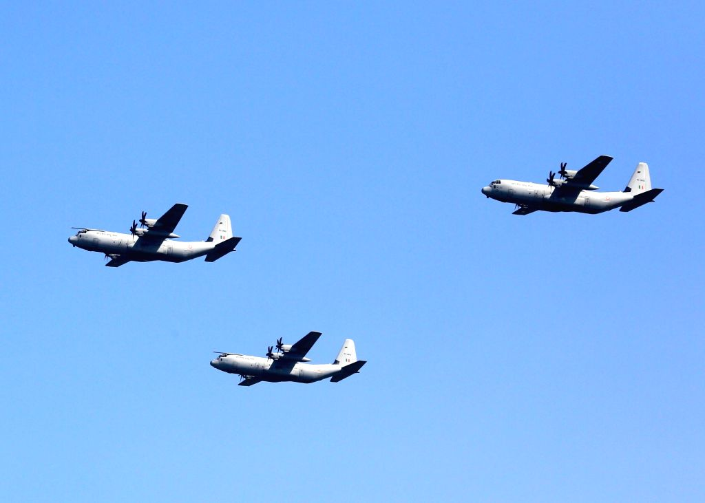 IAF aircrafts participate in flypast during the 87th anniversary celebrations of the Indian Air Force (IAF) at Hindon Air Force Station in Ghaziabad, on Oct 8, 2019.