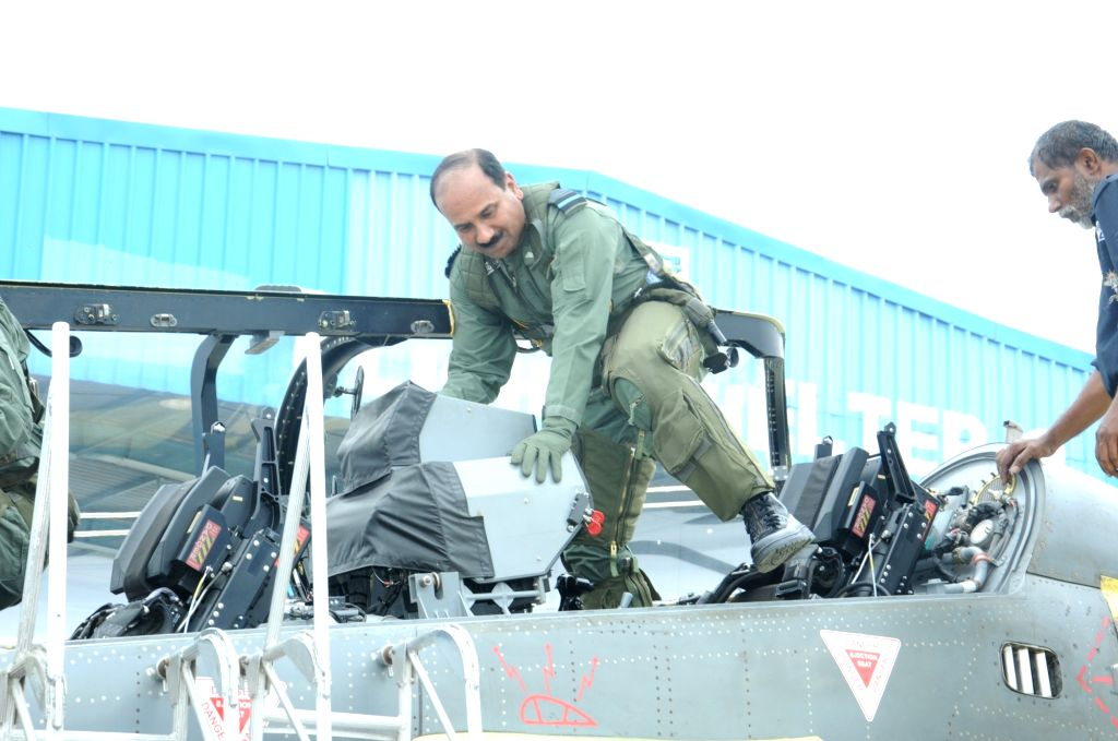 IAF chief, Air Chief Marshal Arup Raha gets ready to fly the indigenous Tejas light combat aircraft (LCA) in Bengaluru, on May 17, 2016. Raha became the first IAF chief to fly the fighter.