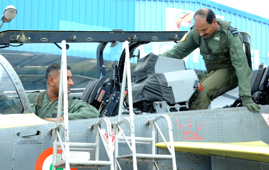 IAF chief Air Chief Marshal Arup Raha gets ready to fly the indigenous Tejas light combat aircraft (LCA) in Bengaluru, on May 17, 2016. Raha became the first IAF chief to fly the fighter.